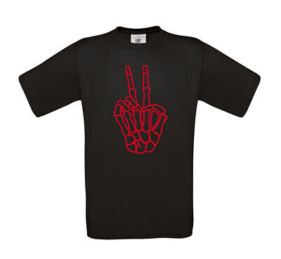 T-Shirt Victory Zeichen Peace Finger Skelett in verschieden Farbkombinationen ()