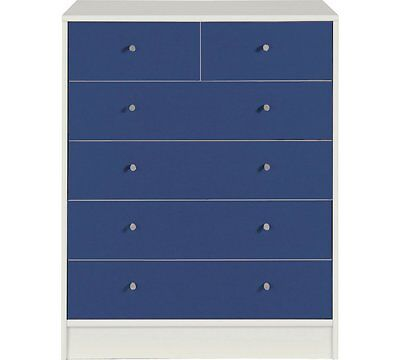 Blue White Chest Of Drawers Six 6 Drawers Storage Wooden Bedroom Furniture