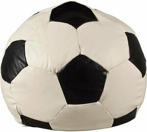 LEATHER EFFECT FOOTBALL BEANBAG COVER   BLACK U0026 OFF WHITE
