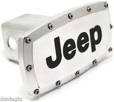 """Logo Jeep 2"""" Remolque Gancho Tapa Enchufe Grabado Aluminio"""