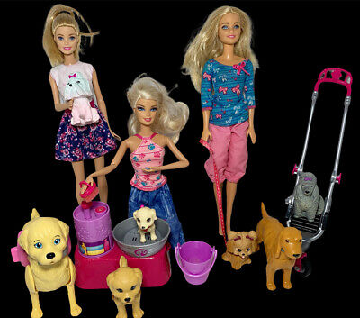 Barbie Doll And Puppy Dog Play set Lot & Accessories Dog Wash Stroller