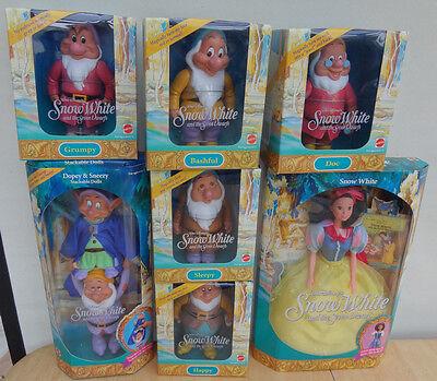 NEW 1992 Mattel Barbie SNOW WHITE AND SEVEN DWARFS Complete Set MINT!  NRFB!