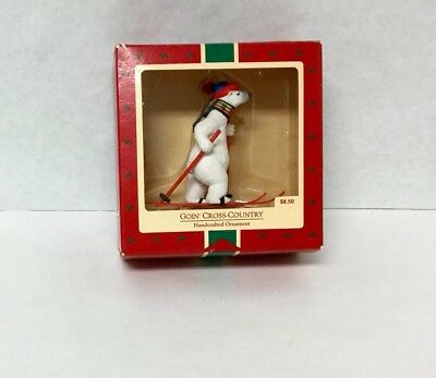 "Hallmark ""Going Cross Country"" Polar Bear Skiing~Christmas Ornament~1988 W/ Box ()"