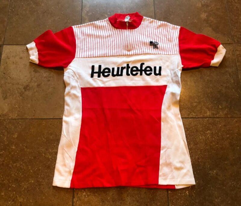VINTAGE 1970s FRENCH HEURTEFEU KOPA BIKE CYCLING JERSEY ADULT SZ 4