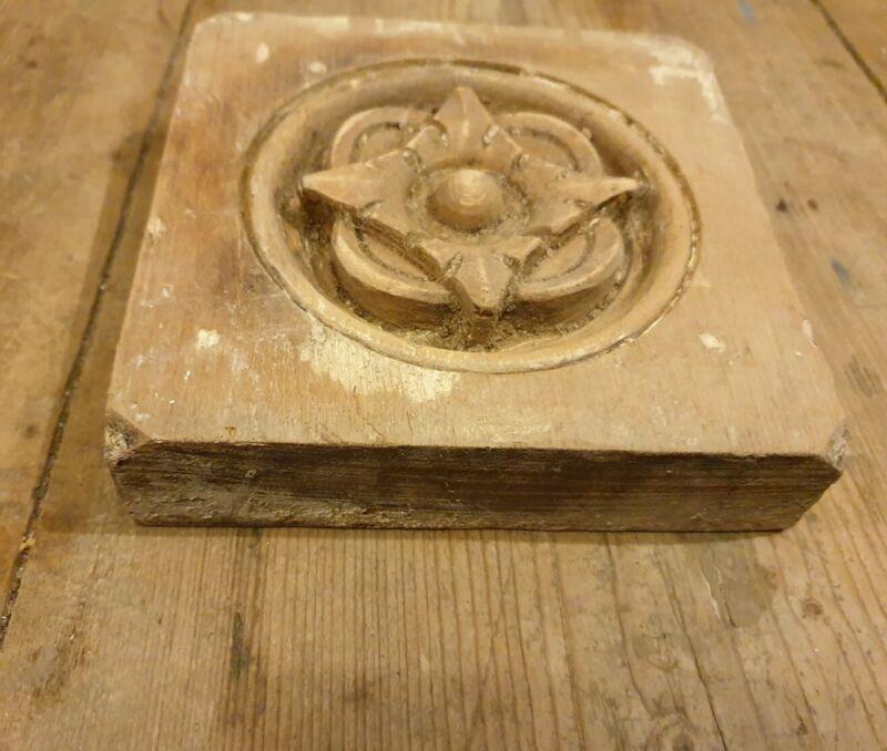 Old victorian door surround carved panel wood piece