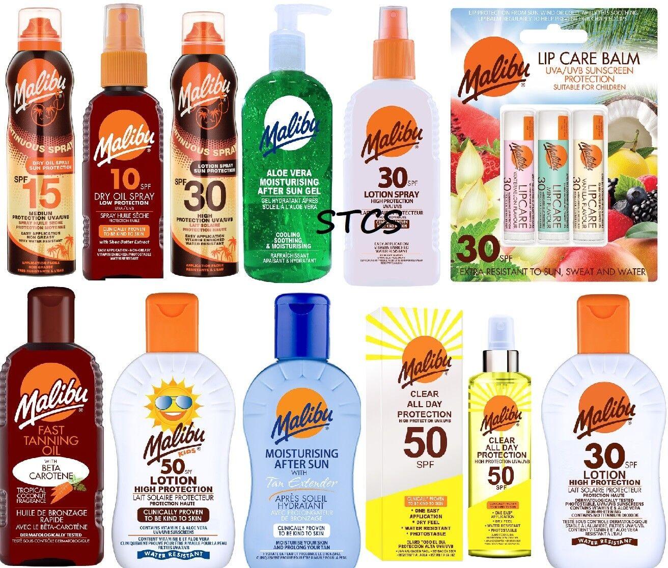 Malibu Sun Care - Kids Lotion / After Sun / Dry Oil Spray / Aloe Vera Gel / Tan