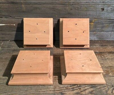 LOT OF 4 UNFINISHED WOOD FURNITURE COUCH SOFA CHAIR SQUARE BUN FEET LEGS
