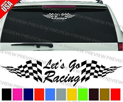 LETS GO RACING CHECKERED FLAG cool 3M Decal Car Truck Window bumper - Checkered Flag Racing
