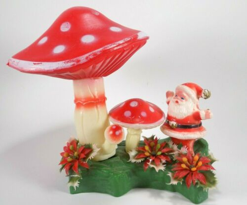 Santa Claus Mushroom Christmas Display Florabelle Flowers Magic Blow Mold  60s