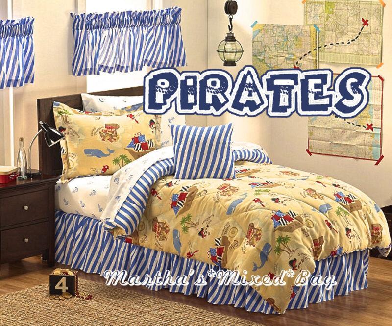 BOYS PIRATES Ships 9-11P Beige Comforter-Sham(s)-Skirt-Sheets+2-Valances+Pillow!