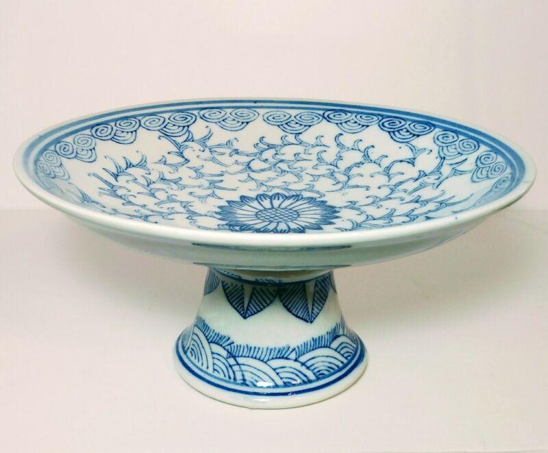 Chinese Tazza ( Pedestal Dish) Vintage, Blue & White Porcelain-BEAUTIFUL!