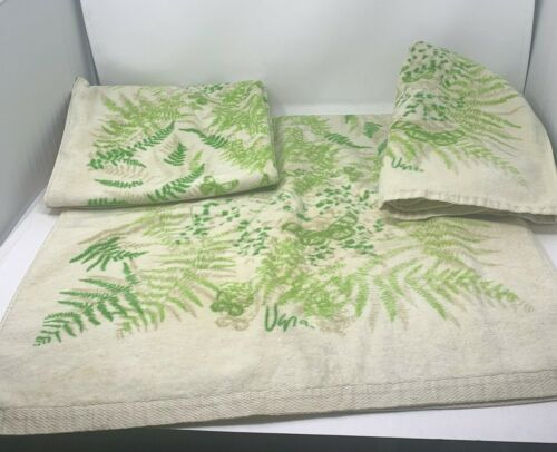 Vtg Vera Collection Burlington Green Fern Cream 4pc Towel Set 2 Bath 2 Hand USA