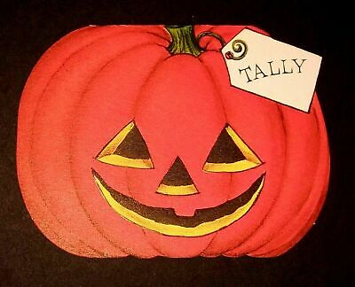 Vintage *UNUSED* Halloween Tally Card: Happy Jack-O-Lantern *1960's* Hallmark