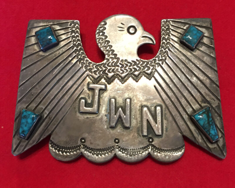 mid 20th C. Navajo Sterling Silver & Spiderweb TurquoiseBelt Buckle, TBird