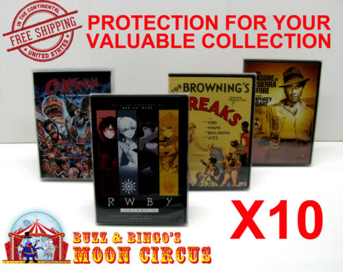 10x DVD (NOT BLU-RAY/UHD) MOVIE - STANDARD SIZE -CLEAR PROTECTIVE BOX PROTECTOR