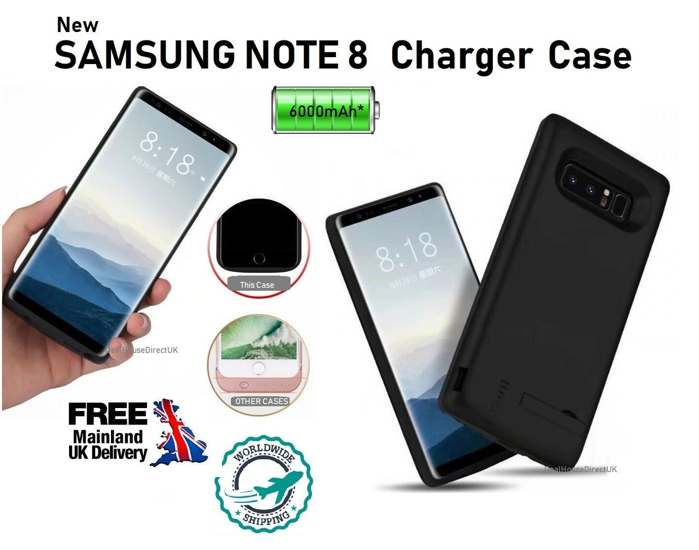 new style 3ff55 487ba Details about Samsung Galaxy Note 8 Battery Case Rechargeable PowerBank  External Battery Cover