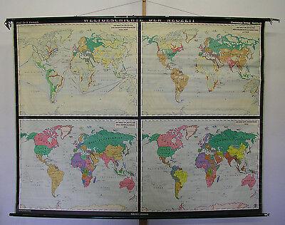 Schulwandkarte Beautiful Old World Map World History 212x163cm Vintage Map~1957