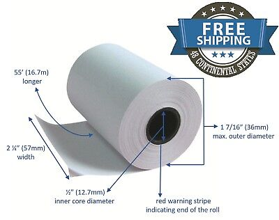 Thermal Receipt Paper 2 1/4 X 50 Verifone Vx520 Ingenico ICT220 ICT250 10 (Thermal Paper Rolls 2 1 4 X 50)