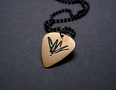 Handmade Etched Bronze Chris Cornell Guitar Pick Necklace  Charity Donation Sale