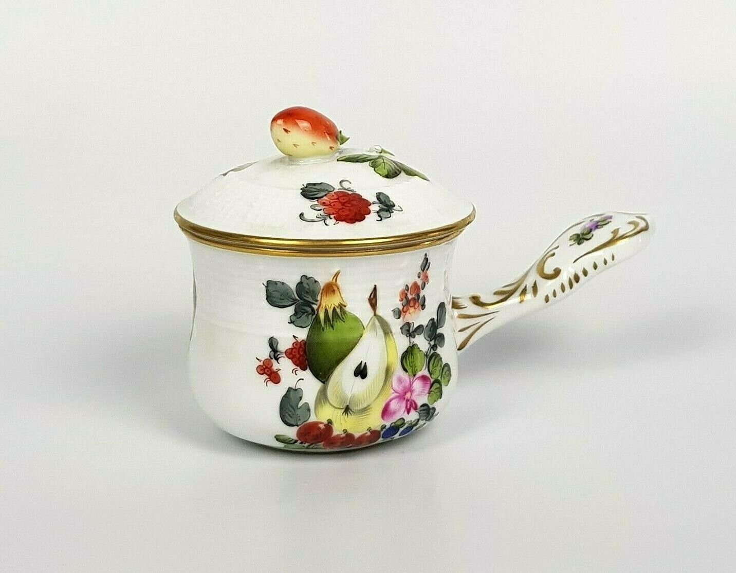 Herend Hungary TAZZA ZUPPA CACAO CIOCCOLATIERA HAND PAINTED FRUTTA PORCELLANA