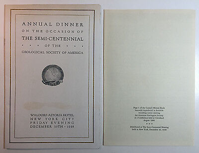 Geological Society of America Annual Dinner Program & Doc, Waldorf-Astoria, 1938