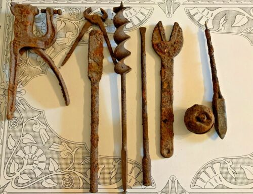 Lot of 8 Assorted Barn Fresh Rusty Vintage Metal Iron Tools Decor Rough Salvage