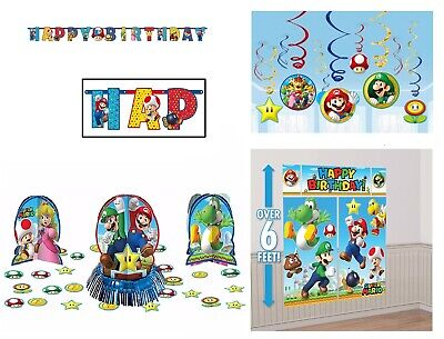 Super Mario Bros Birthday Pack Combo Decorations Wall Banner Swirls Props (Super Mario Brothers Decorations)