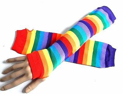 RAINBOW STRIPED ARM WARMERS gay pride knit fingerless gloves Brite rave LGBT Y5 ()