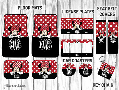 Personalized Disney Car Mat Gift Set | Black & Red Peeking Minnie Mouse Car Mat](Disney Personalized Gifts)