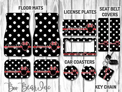 Personalized Car Mat Set (Personalized Disney Car Mat Gift Set | Black Polka Dot Minnie Mouse Car)