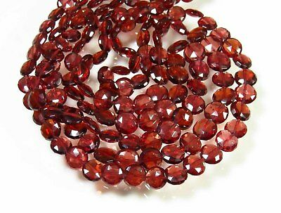 MOZAMBIQUE GARNET COIN SHAPE FACETED BRIOLETTE BEADS 6-8 MM. NATURAL GEMSTONE Garnet Faceted Coin