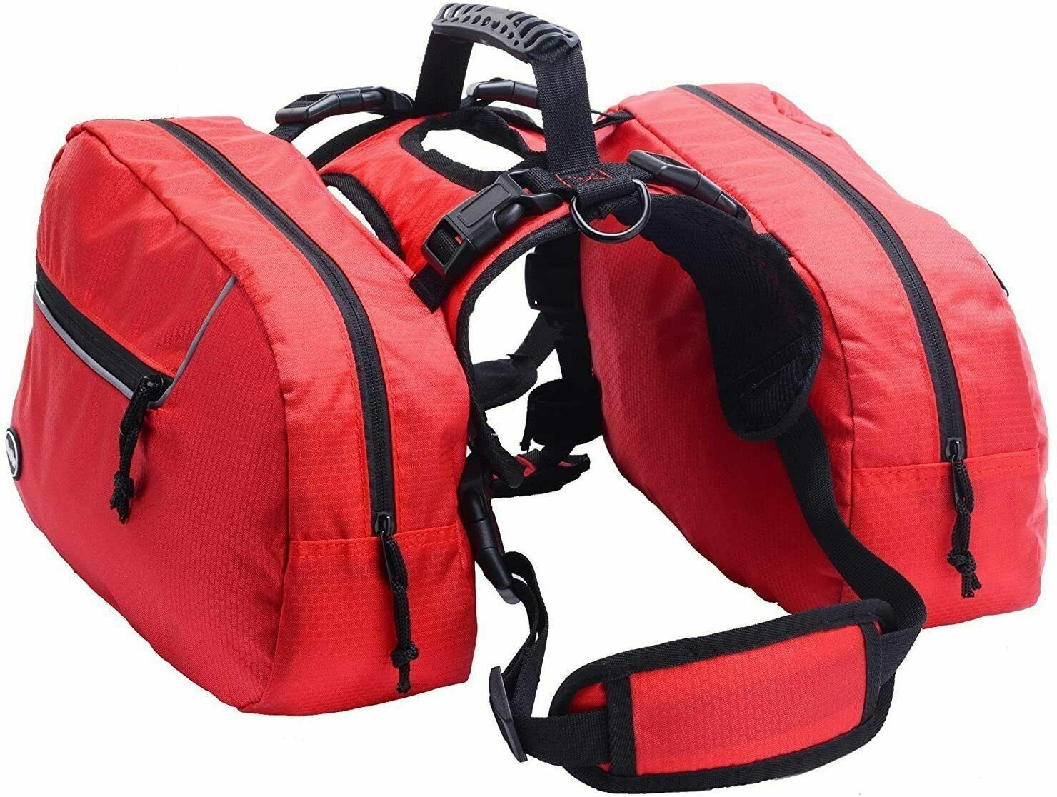 BINGPET Large Dog Harness Backpack Doggie Saddlebags with 2