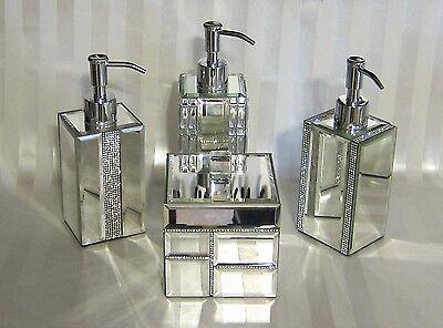 Bella Lux Crystal Mirror Rhinestone Bathroom Accessories Pump Jar Lid Tray  New