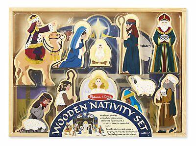 Melissa Doug Wooden Nativity Set 11 Standing Figures 4 Piece Stable Baby Jesus