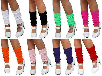 Ladies Girls Teen 80's Dance Plain Ribbed Leg Warmers Legwarmers 13 Colours Tutu (80s Leg Warmers)