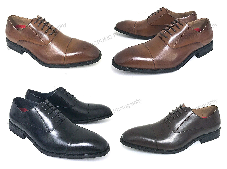 New Men/'s Black Dress Shoes Cap Toe Lace Up Oxfords Leather Lining Parrazo