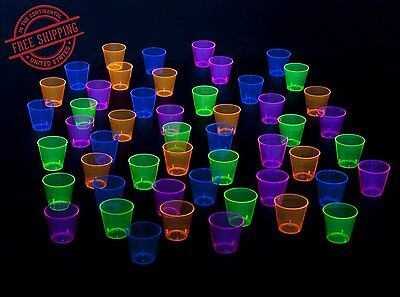 Shot Glasses Plastic Glow In The Dark Neon Black Light Reactive 1Oz 50 Count New