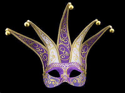 Mask from Venice Colombine Jolly Purple Golden in 5 Spikes Paper Mache 22374