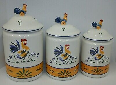 Avon Provencal Amassment Rooster Country Kitchen Canister Set EUC