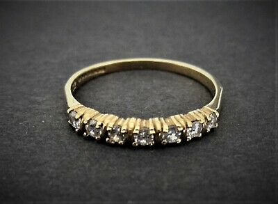 Vintage 9ct Gold Cubic Zirconia Half Eternity  Ring, Size o