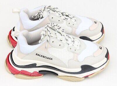 Balenciaga Triple S Trainers White Red Black Sneakers Mens Size EU 42 - US 9