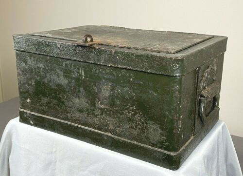 Antique C.1890 Strong Box, Safe ~ Stagecoach, Train ~ Ornate No Pinch Handles