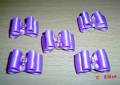 Pretty Purple Show Style Dog Grooming Bows Diamante Centre