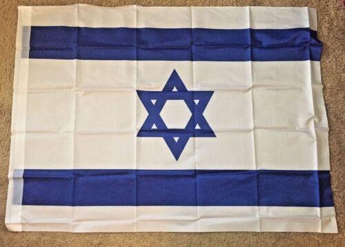 "Israeli Flag Blue & Wh. 44 x 32"" Hangable Proudly Support Israel Free Ship"