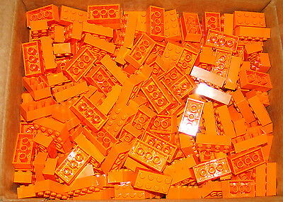 NEW Lot of 20 LEGO 2x4 Orange BRICKS PIECES BULK