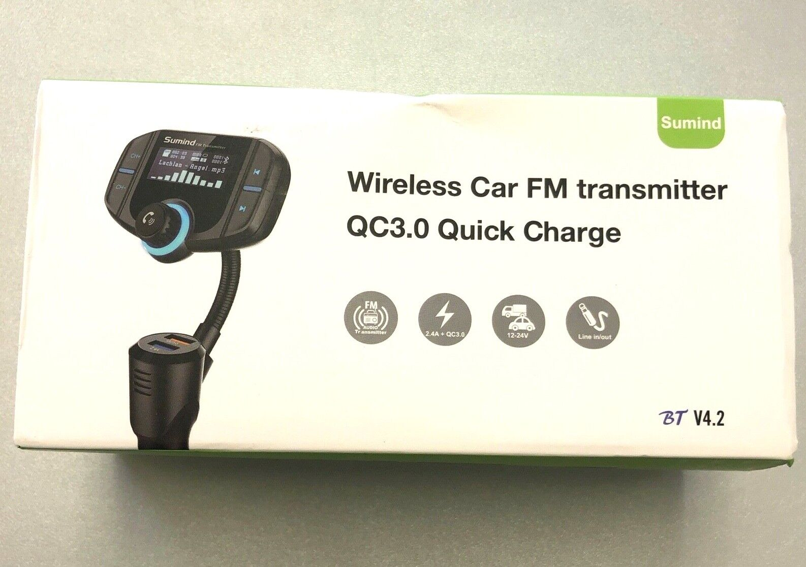 Sumind Wireless Car FM Transmitter QC3.0 Quick Charge