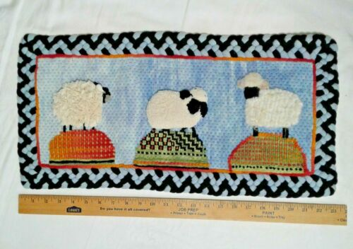 """A FANCY STITCH SPECIAL Hand Hooked Wool Rug SHEEP 23 X 11"""" in by Anne Eastwood"""