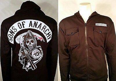 Authentic Sons Of Anarchy Patch Highway Fleece Soa Zip Up Hoodie Jacket S 3Xl