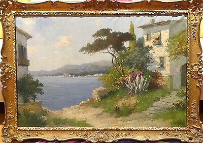 Fine Large Early 20th Century Italian Lake Landscape Antique Oil Painting Signed
