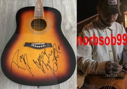 "POST MALONE SIGNED AUTOGRAPH 41"" ACOUSTIC GUITAR wEXACT PROOF & RARE INSCRIPTION"